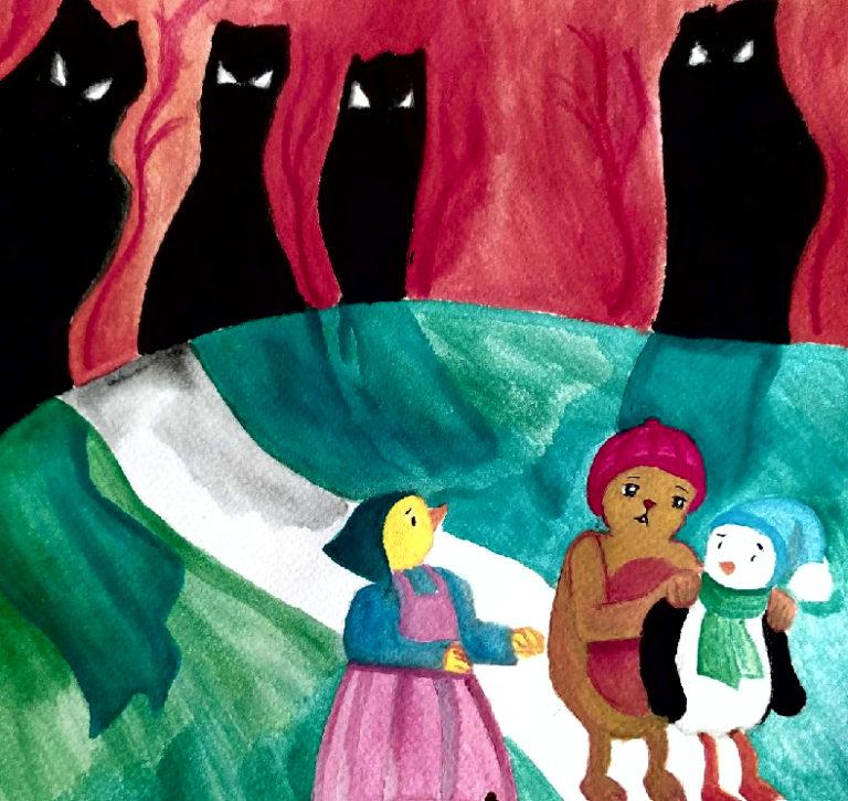 Ma représentation négative du confinement: Une illustration sombre présentant de larges ombres noires symbolisant le virus invisible et présent dans le dos de Lili, Lou et Leo