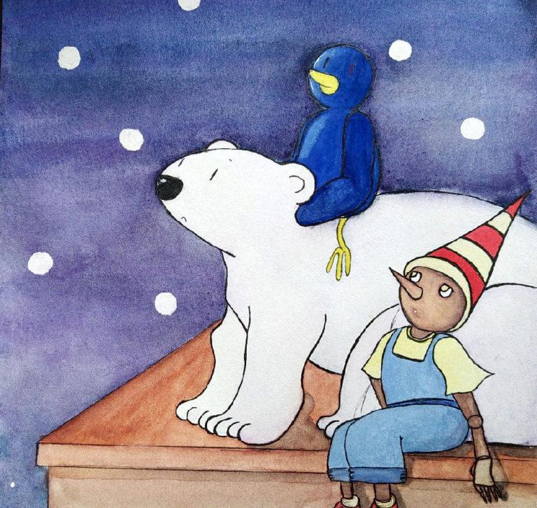 Qui est Pingouin Artiste ?Illustration d'un pingouin, un ours blanc et un pantin