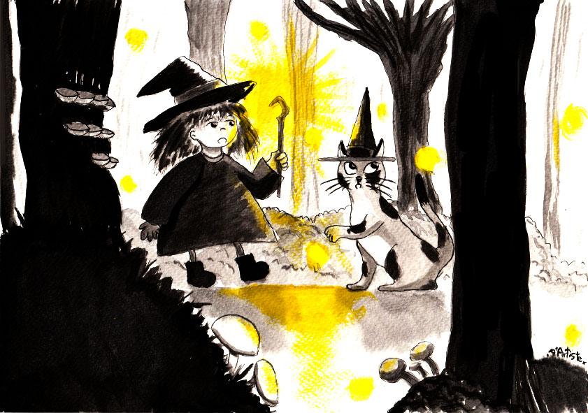Apprentie sorcière - Lavis à l'encre