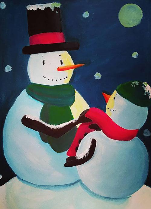 Un papa bonhomme de neige et son fils