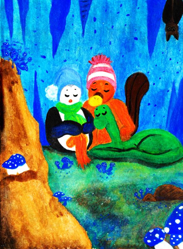 Illustration Jeunesse - Caverne aux champignons