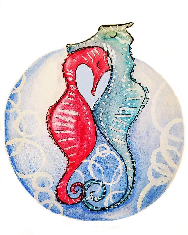 Illustration Jeunesse - Couple d'hippocampes