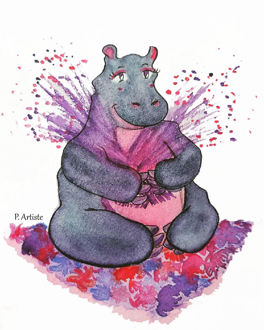 Illustration Jeunesse colorée hippopotame tenant un bouquet de fleurs