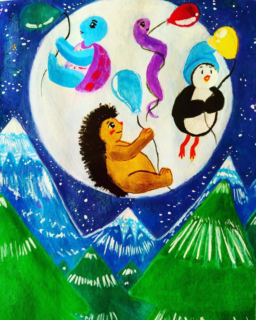 Illustration Jeunesse représentant de petits animaux volant au-dessus des montagnes avec des ballons magiques
