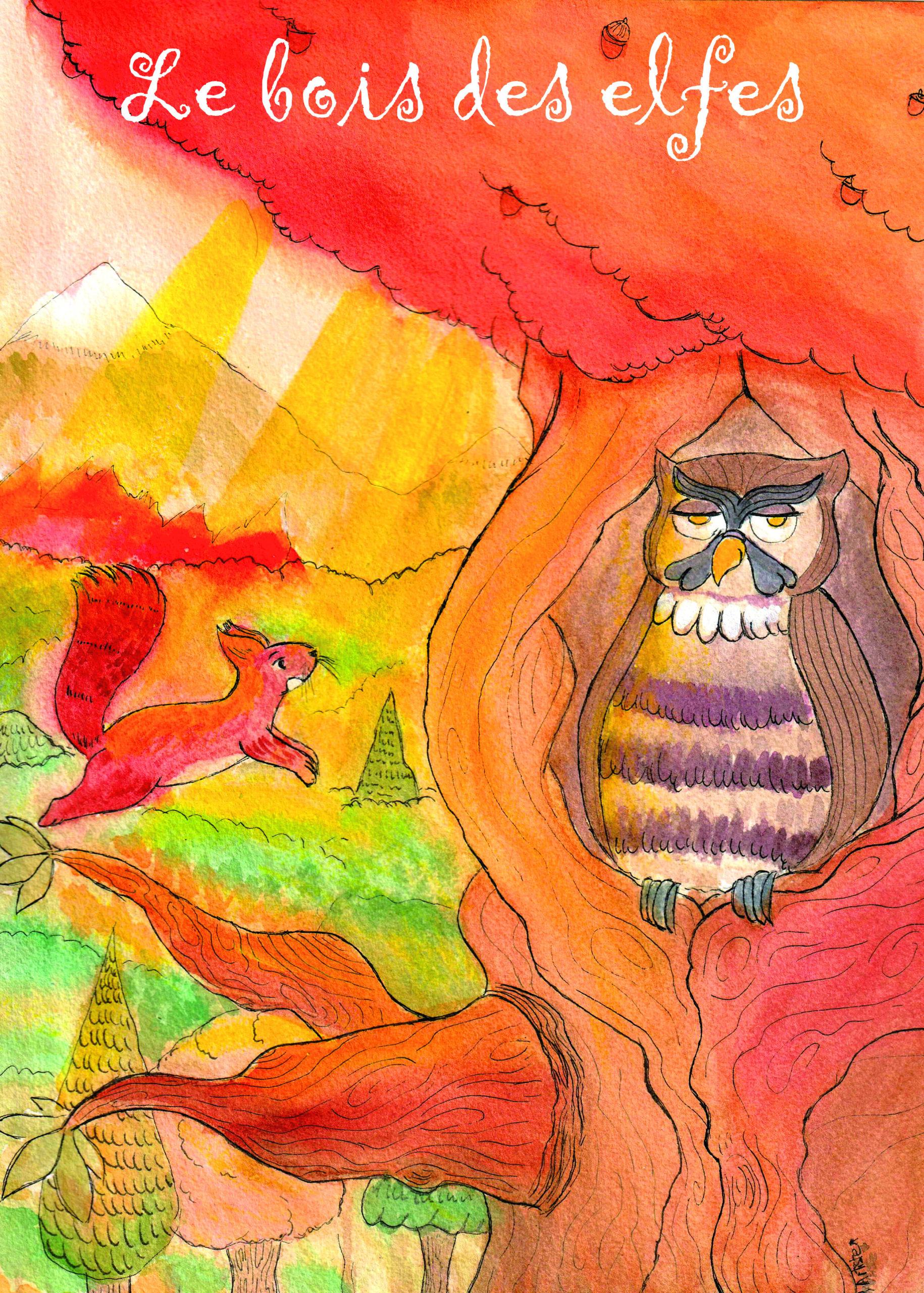 """Illustration pour l'histoire """"le bois des elfes"""" de Sylvette Granger"""