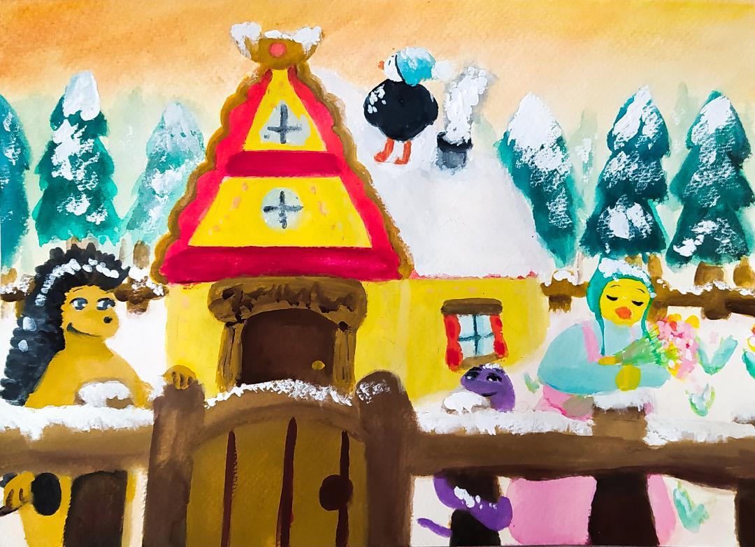 Petite maison de campagne en hiver