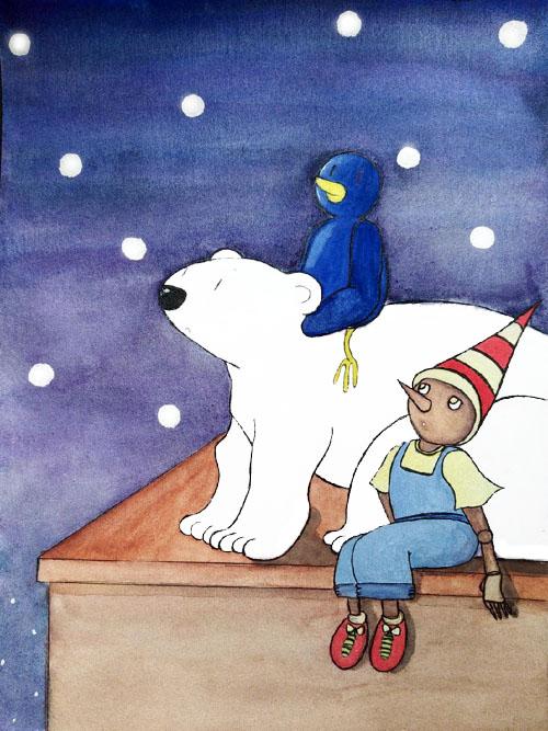 Une illustration jeunesse représentant un trio d'amis improbable: un pantin en bois, un ours et un pingouin