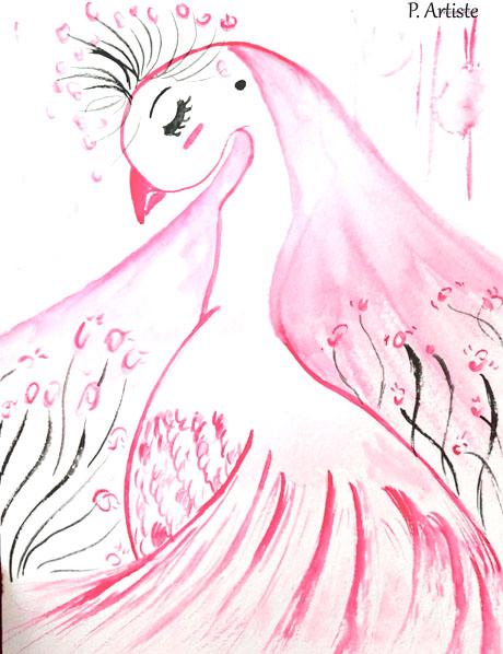 Illustration d'un paon blanc à l'aquarelle