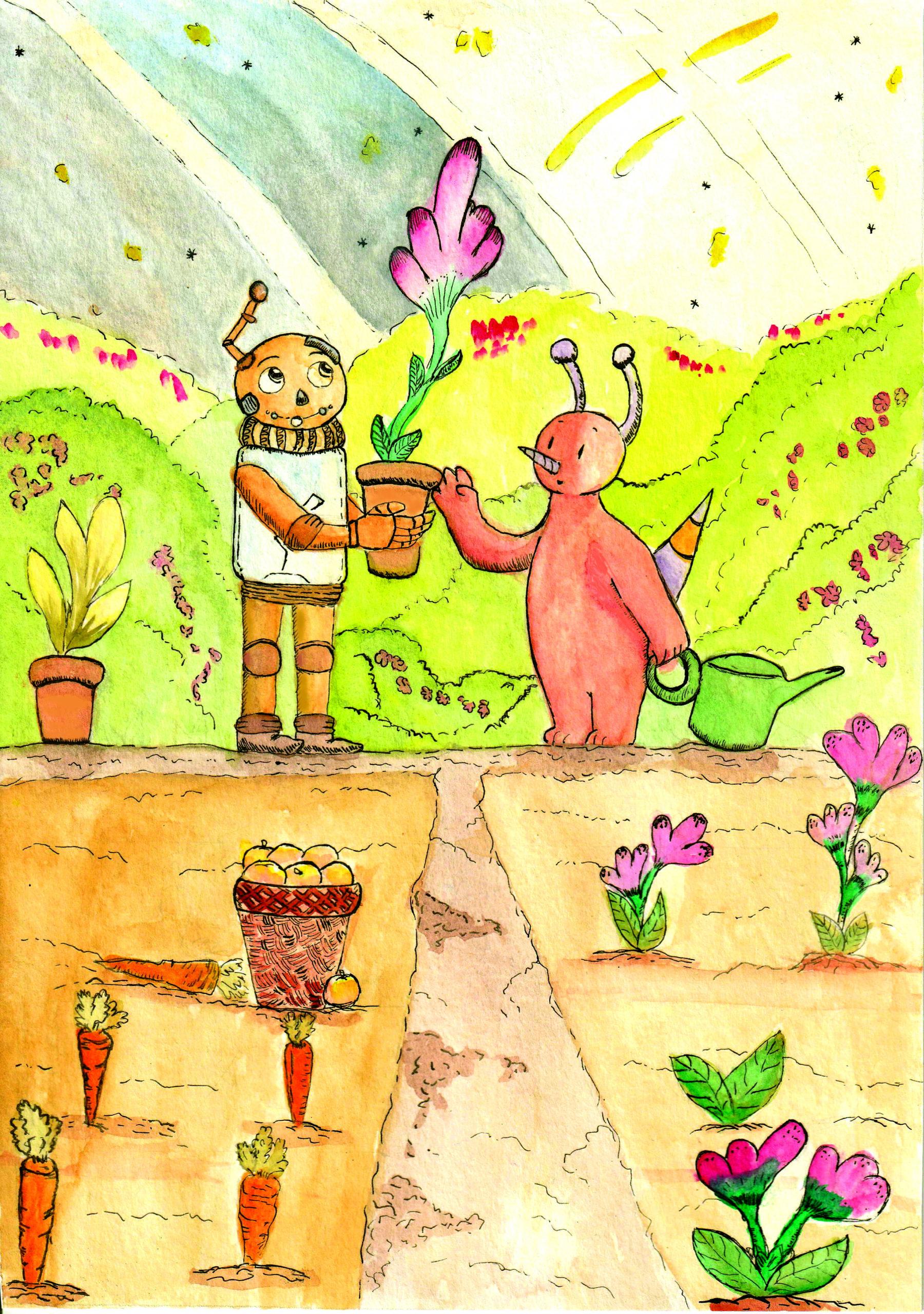 Un robot et son ami extraterrestre prennent soin des plantes.