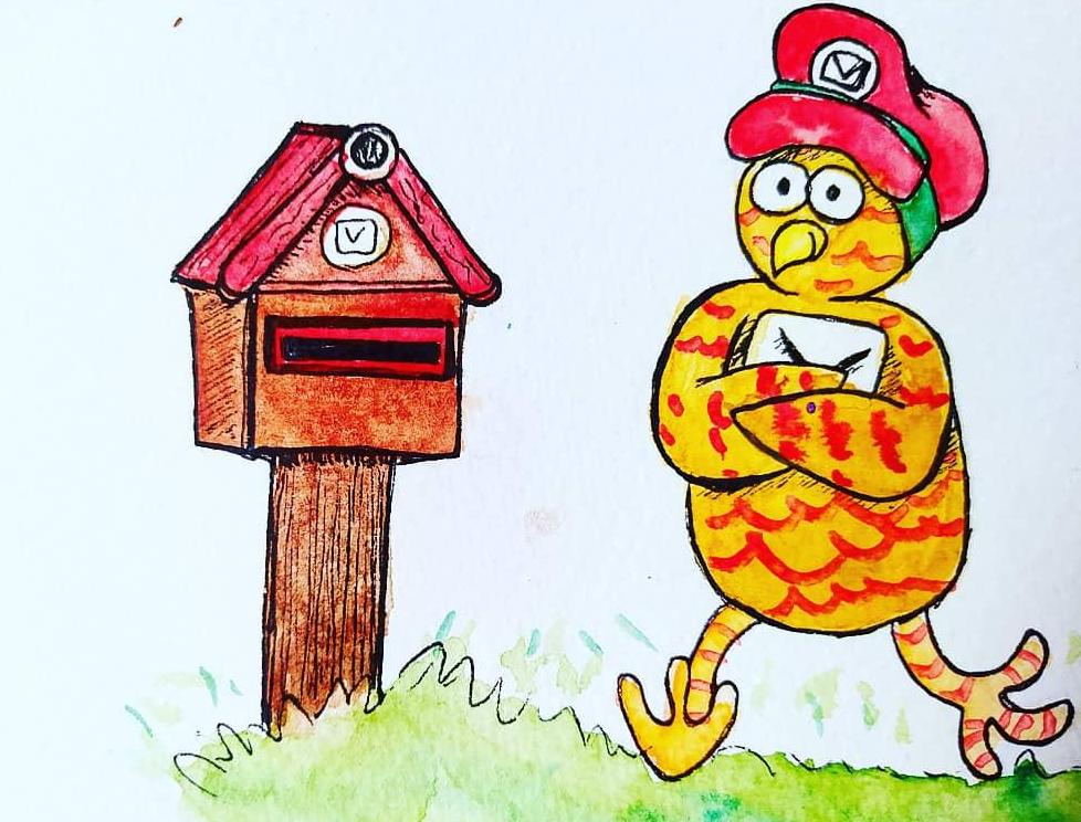 Hibou postant un courrier dans une boîte aux lettres