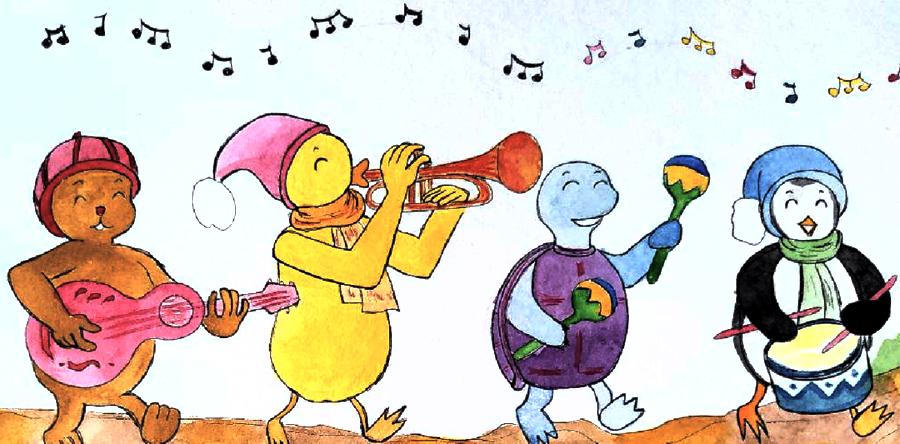 Groupe de personnages (Leo, Teo, Tim & Lou) jouant chacun d'un instrument de musique