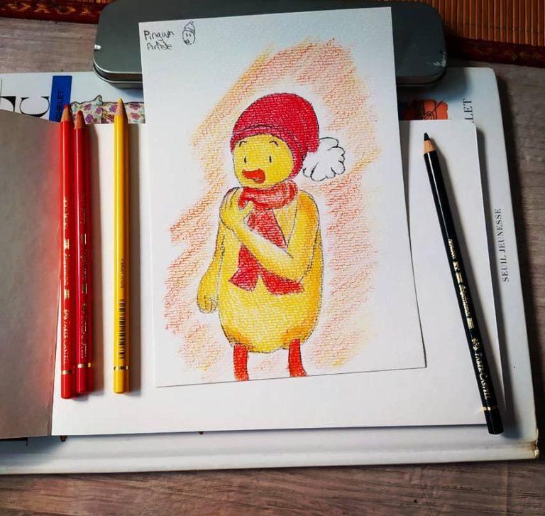 Téo - Image de couverture représentant un des premiers croquis de Téo au crayon de couleur.