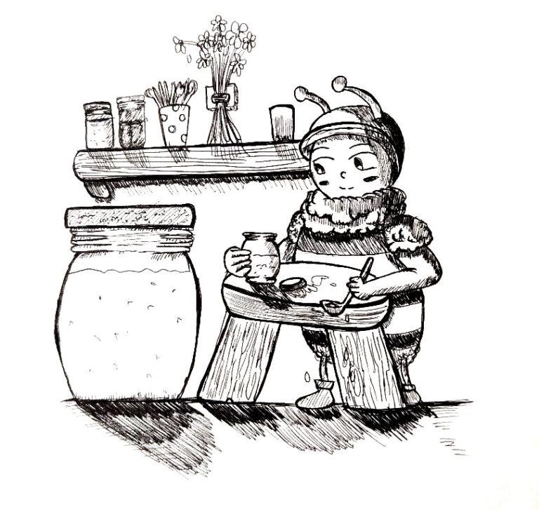 Croquis à l'encre d'une petite abeille préparant des pots de miel.