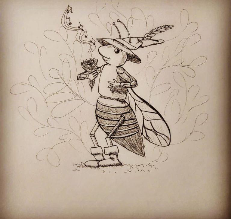 Premier dessin de Folktober sur le thème de la cigale