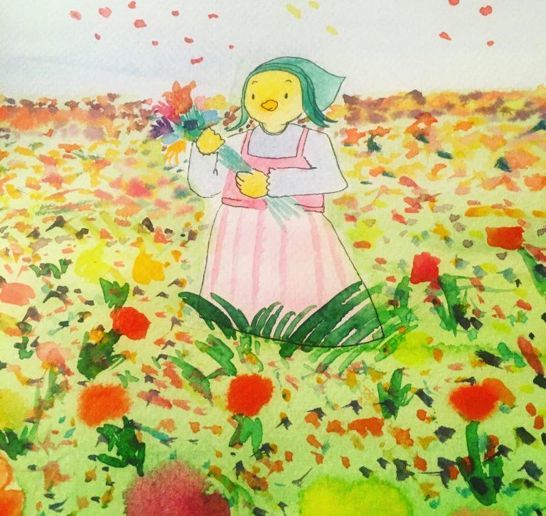 Représentation de Lili dans un champ de fleurs