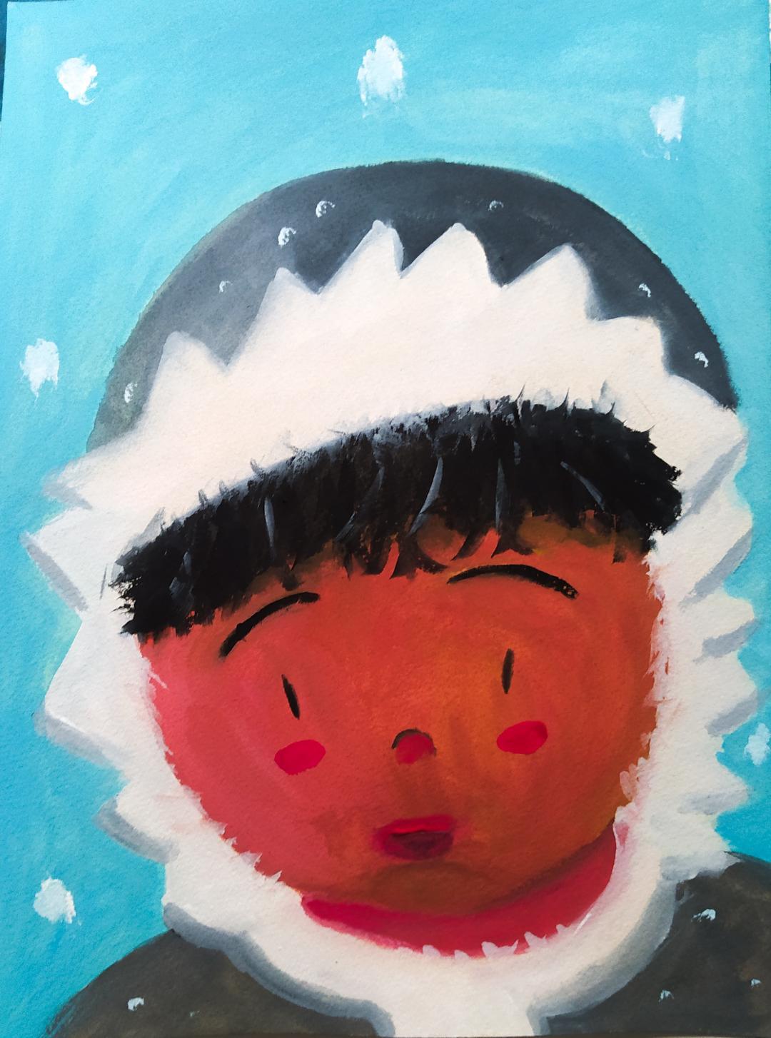 Illustration à la gouache d'un enfant esquimau