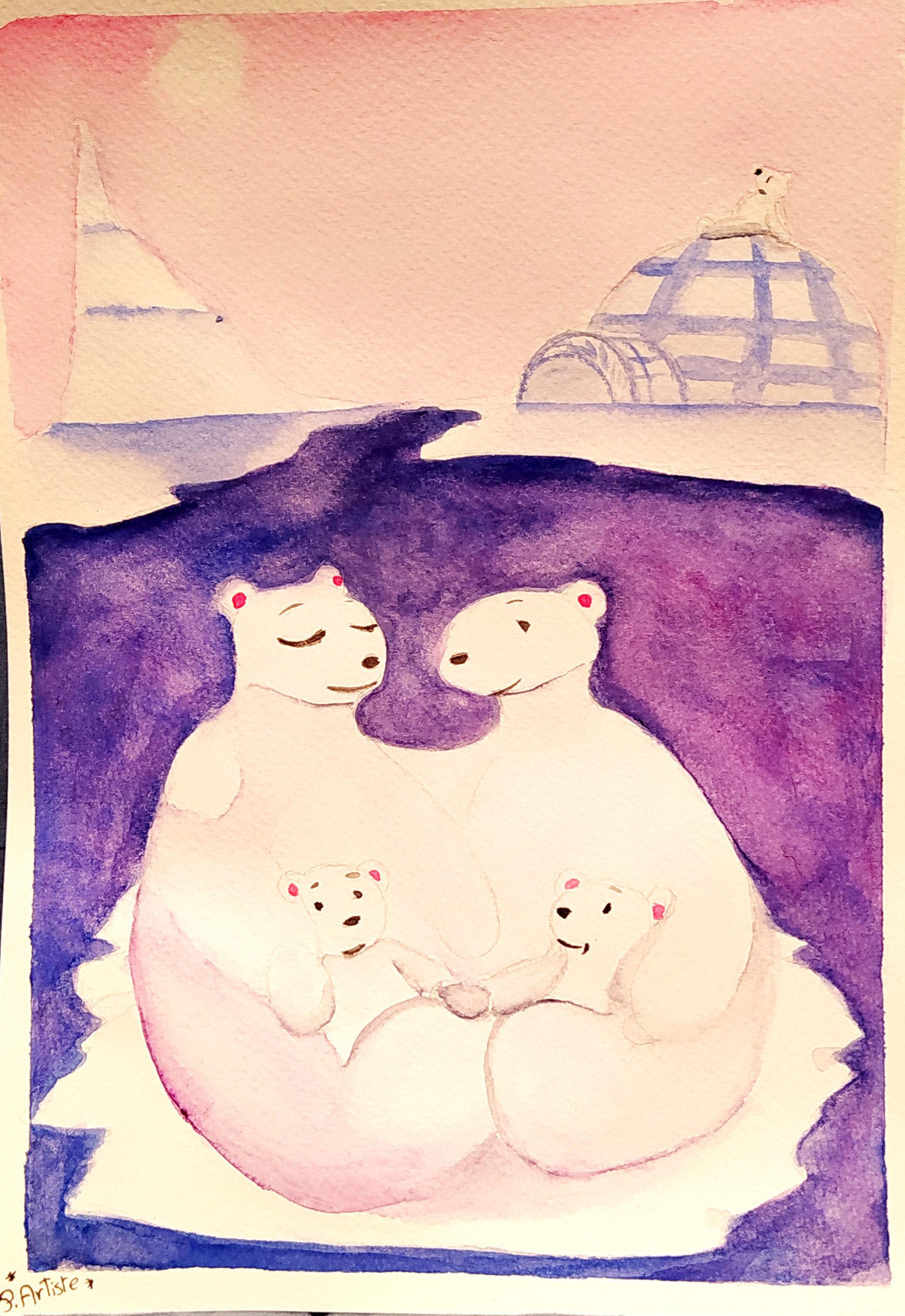 Pour changer de la tristesse de voir des ours blancs isolés sur un bout de glace, voici une famille réunie et proche du bord.