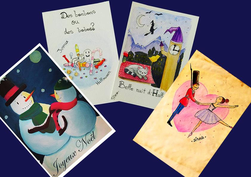Différents types de cartes de voeux (Noël, sur papier vintage, Halloween)