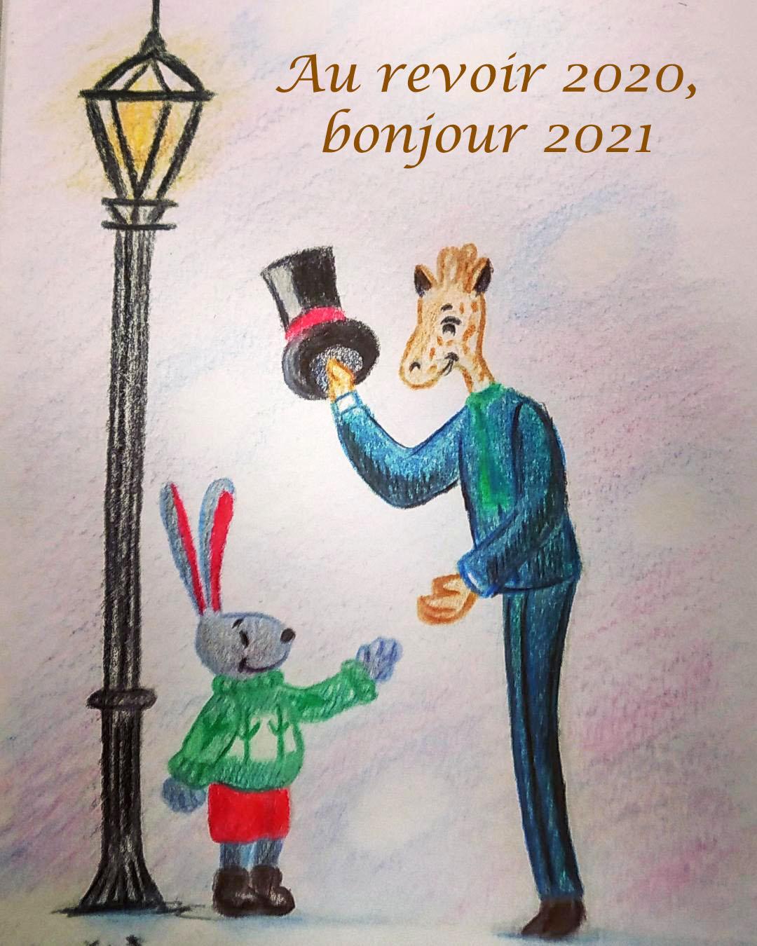 Illustration d'un petit lapin représentant 2021 et saluant l'expérimentée girafe de 2020