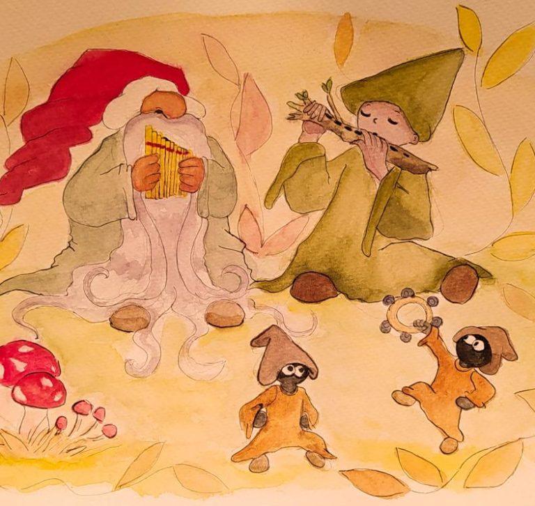 Illustration représentant des lutins jouant de la musique et faisant la fête.
