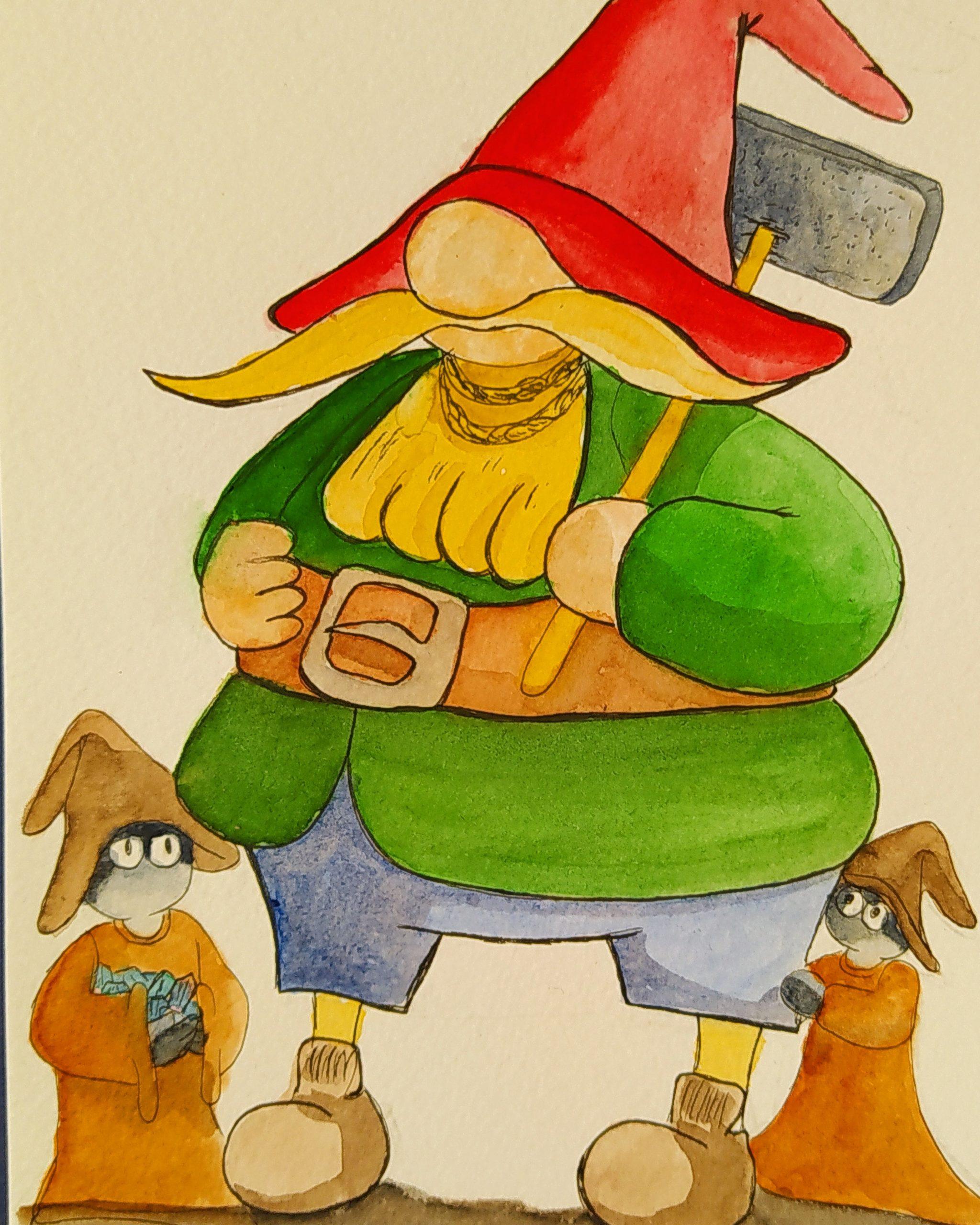 Illustration d'un autre type de gnome inspiré des tomtes scandinaves.
