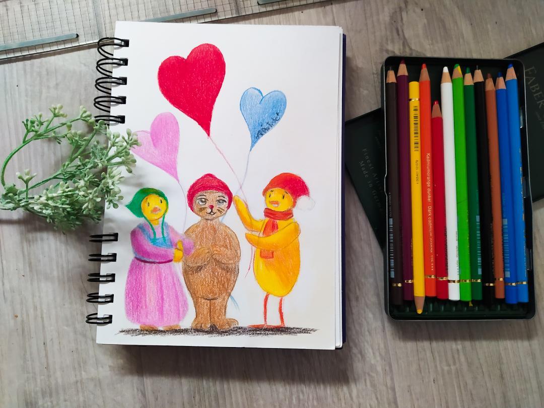 Croquis pour la Saint-Valentin de Leo, Lili et Teo tenant des ballons en forme de coeur.