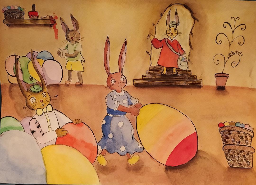 Illustration de l'atelier où travaillent les lapins de Pâques