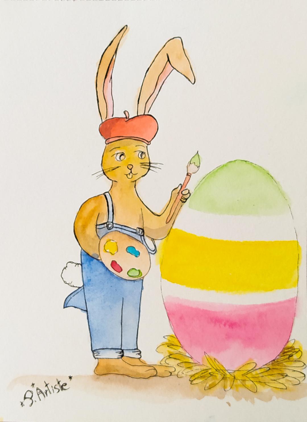 Illustration d'un lapin peignant un oeuf