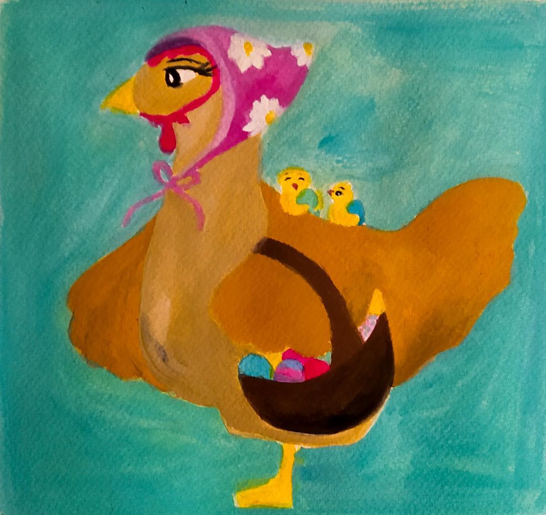 Illustration d'une poule de Pâques