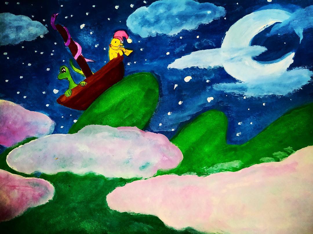 Illustration à la gouache d'un bateau voguant paisiblement dans les cieux.