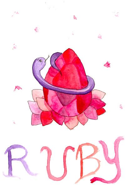 Illustration au format A5 de Ruby le serpent violet.