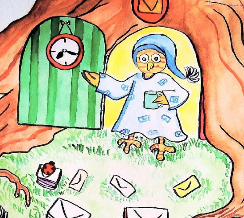 Illustration issue de mon portfolio art traditionnel. Elle décrit un hibou postier découvrant de grosses piles de lettres au matin devant sa porte